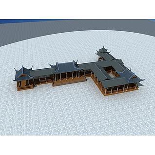 古建廊亭3d模型