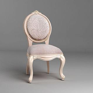 欧式梳妆椅3d模型