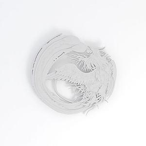 3d鳳凰雕花模型