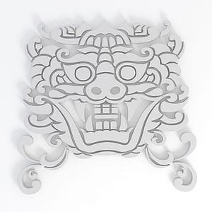 3d雕花花紋模型