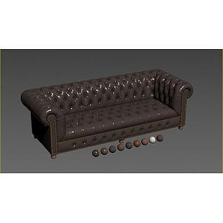 咖啡色皮沙发3d模型