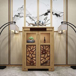 新中式备餐柜3d模型