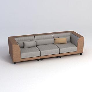 三人沙发3d模型