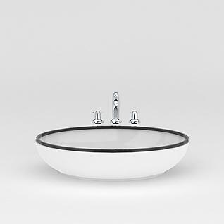 圆形洗手台盆3d模型
