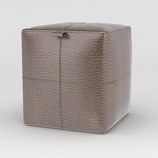 皮艺沙发凳3d模型