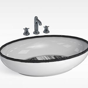 圆形洗手台盆模型