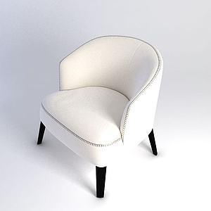 白色休閑沙發模型