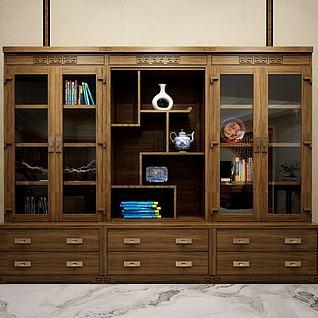 中式六门书柜3d模型
