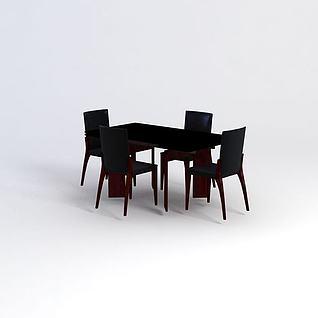 简约餐桌椅3d模型3d模型