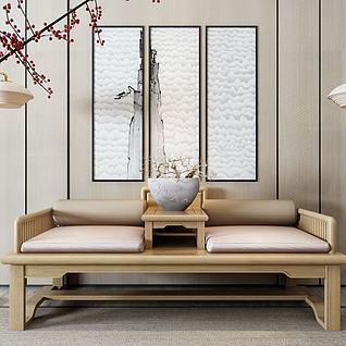 新中式罗汉床3d模型