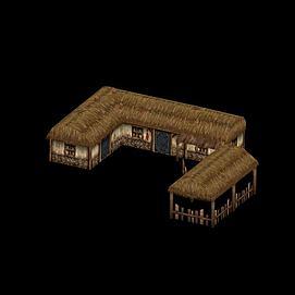 游戏茅草屋模型