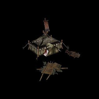 战场兵器架帐篷3d模型
