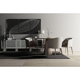 北欧桌椅边柜组合3d模型