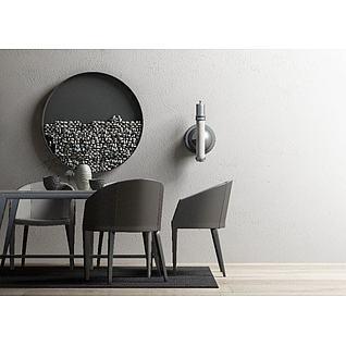 现代桌椅装饰画组合3d模型3d模型