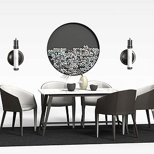 現代桌椅裝飾畫組合模型