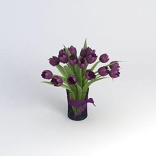 紫色郁金香3d模型