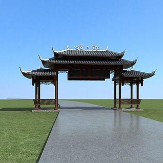 风景区大门3d模型