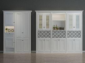 白色鞋柜3d模型