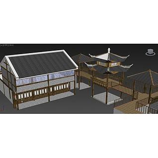 古建亭台楼阁3d模型