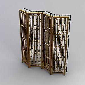后现代屏风隔栏模型