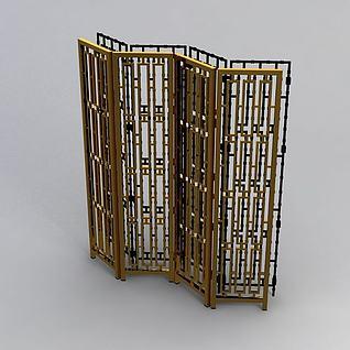 后现代屏风隔栏3d模型