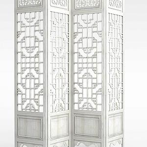 中式古典屏风模型