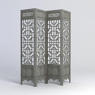 中式古典屏风3d模型