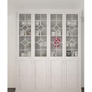 白色四门书柜3d模型