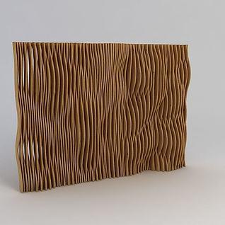 木纹隔断装饰墙3d模型