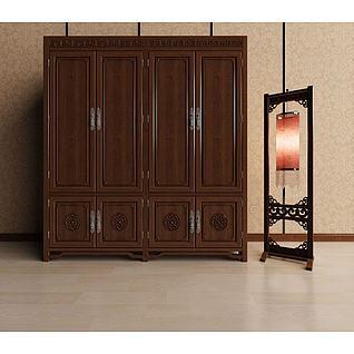 中式雕花柜子3d模型