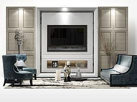 现代客厅电视墙模型