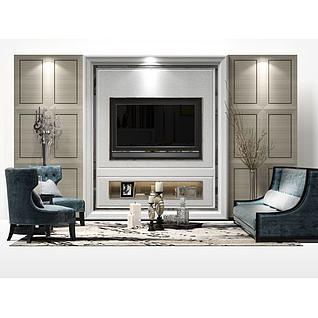 现代客厅电视墙3d模型