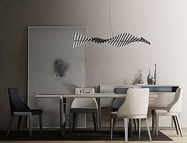 新中式餐桌椅装饰画组合3d模型