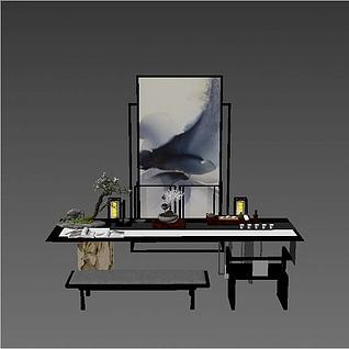 新中式书房桌椅组合3d模型