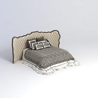 欧式奢华双人床3d模型