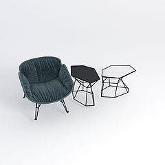 北欧简约单人沙发模型3d模型