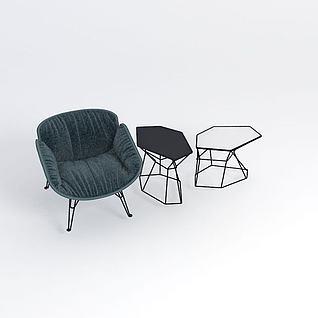 北欧简约单人沙发3d模型