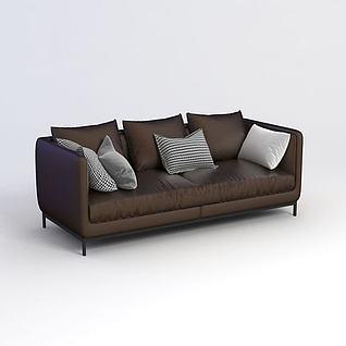 棕色长沙发3d模型