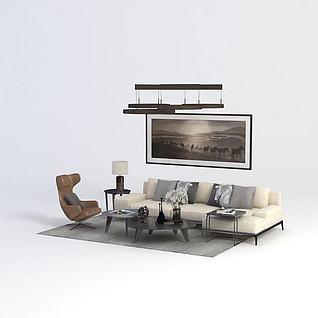 简约客厅沙发茶几组合3d模型