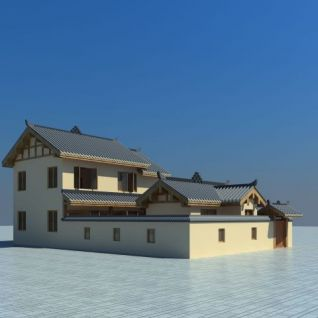 川西风格别墅3d模型