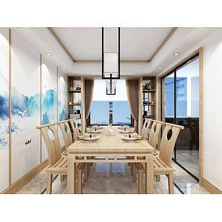 新中式餐桌3d模型3d模型