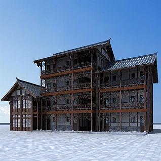 中式茶楼3d模型