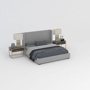 现代简约双人床3d模型