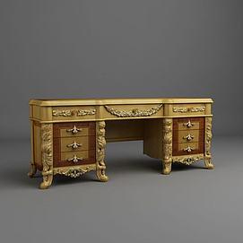 豪华欧式办公桌3D模型
