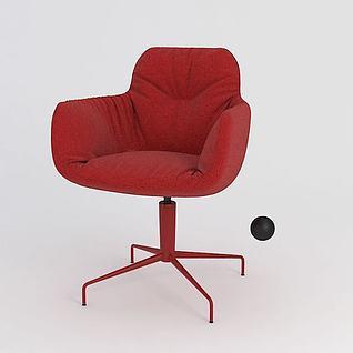 红色旋转单人椅3d模型