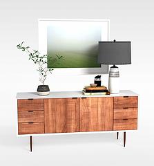 现代简约边柜陈设品组合模型3d模型