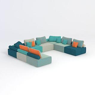 现代简约多人沙发3d模型