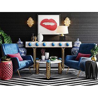 后现代端景台沙发茶几组合3d模型