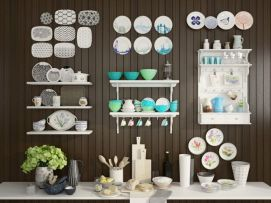 厨房餐具碗碟组合配料柜模型