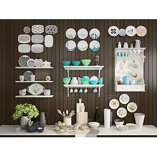 厨房餐具碗碟组合配料柜3d模型3d模型